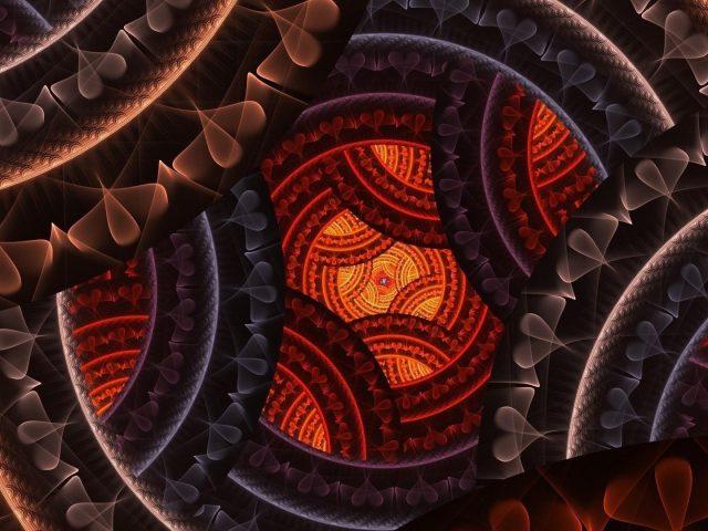Коричневый оранжевый синий фрактал сердце круглая форма абстракция