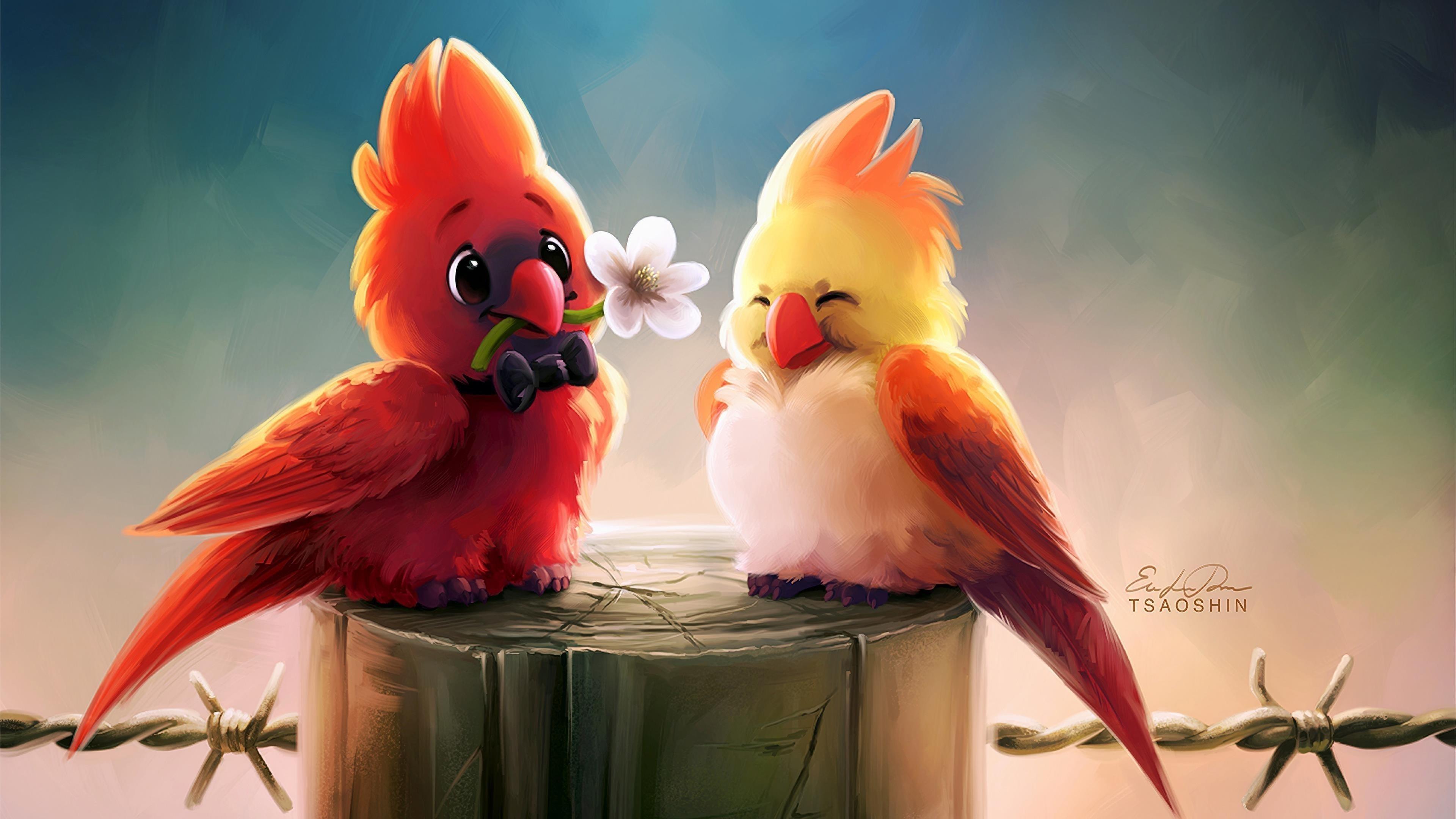 Милые птицы романтика обои скачать