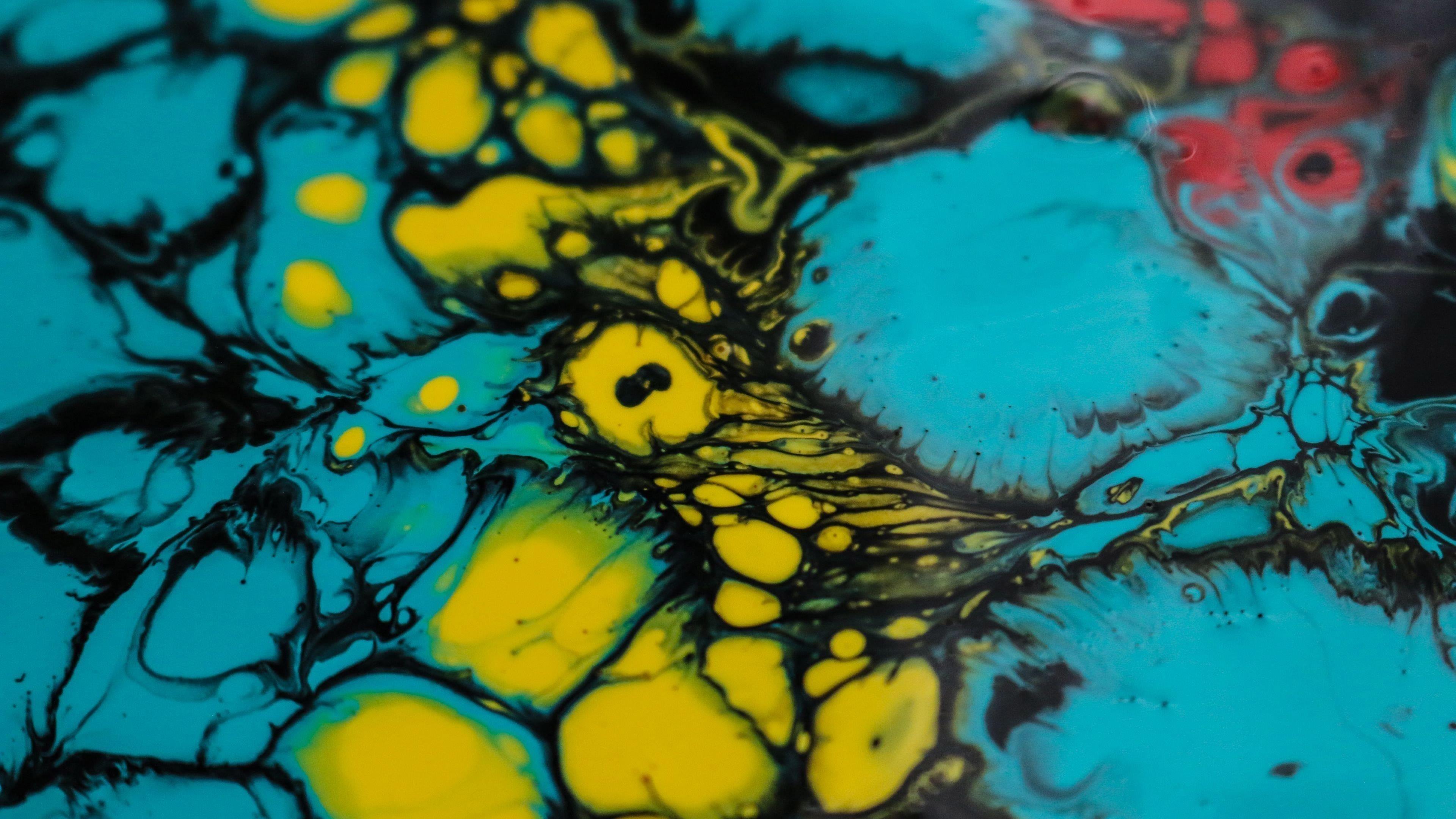 Синий черный желтый красный краски пятна пятна абстрактные обои скачать