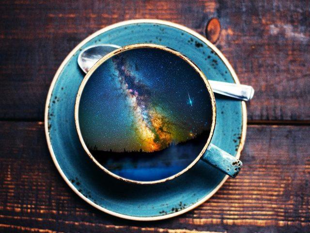 Пейзаж чашка кофе
