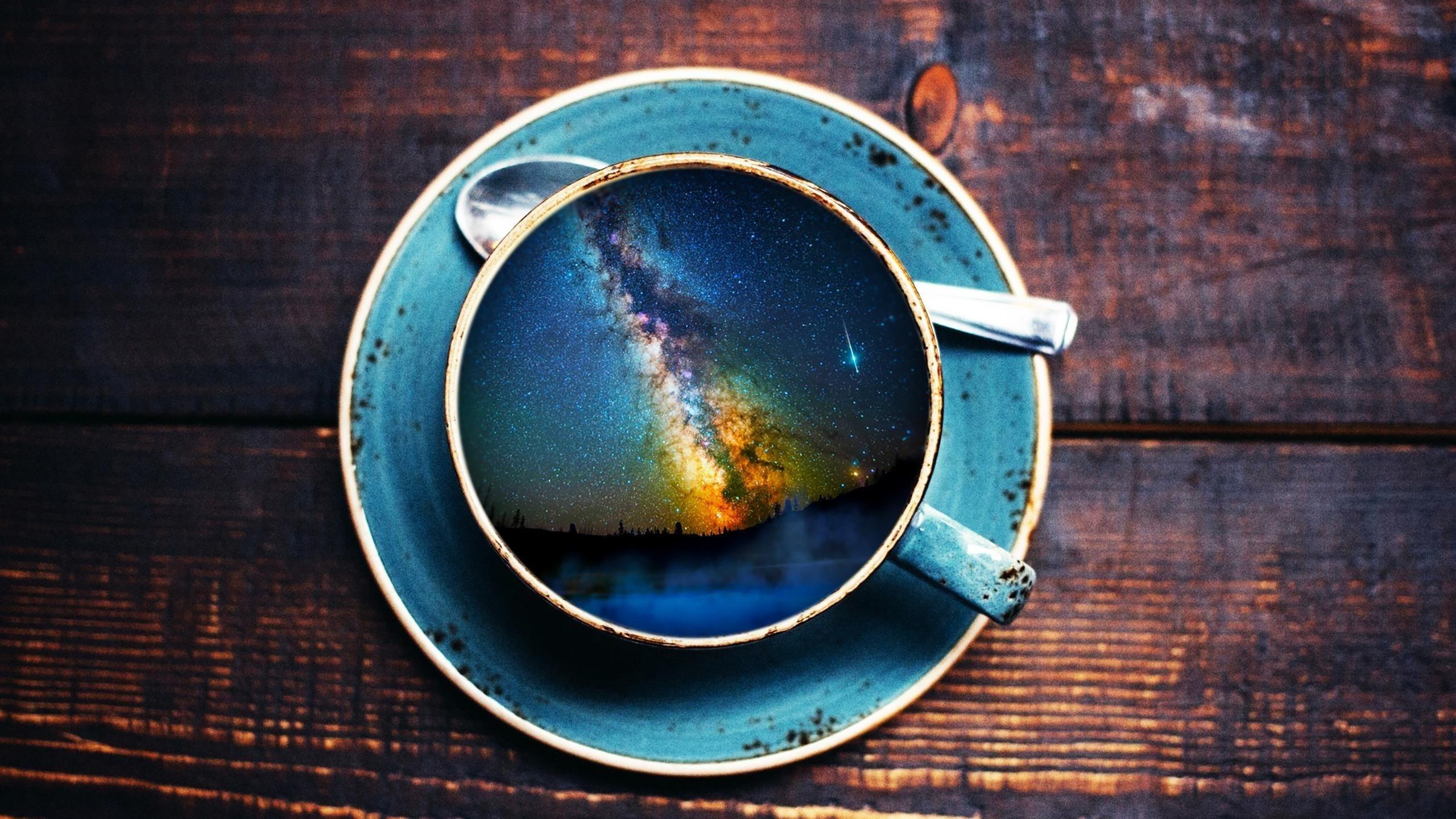 Пейзаж чашка кофе обои скачать