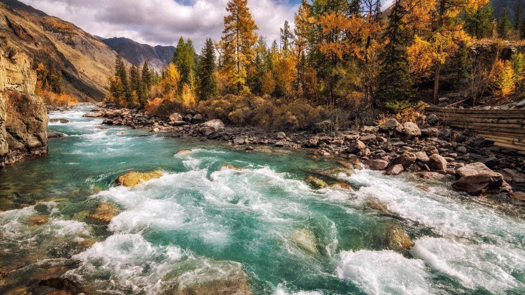 Прекрасный вид на реку между красочными осенними деревьями покрытыми лесом и скалистой природой обои скачать