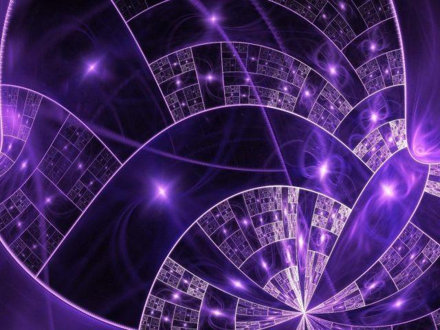 Фиолетовые сверкающие звезды спиральная форма абстракция