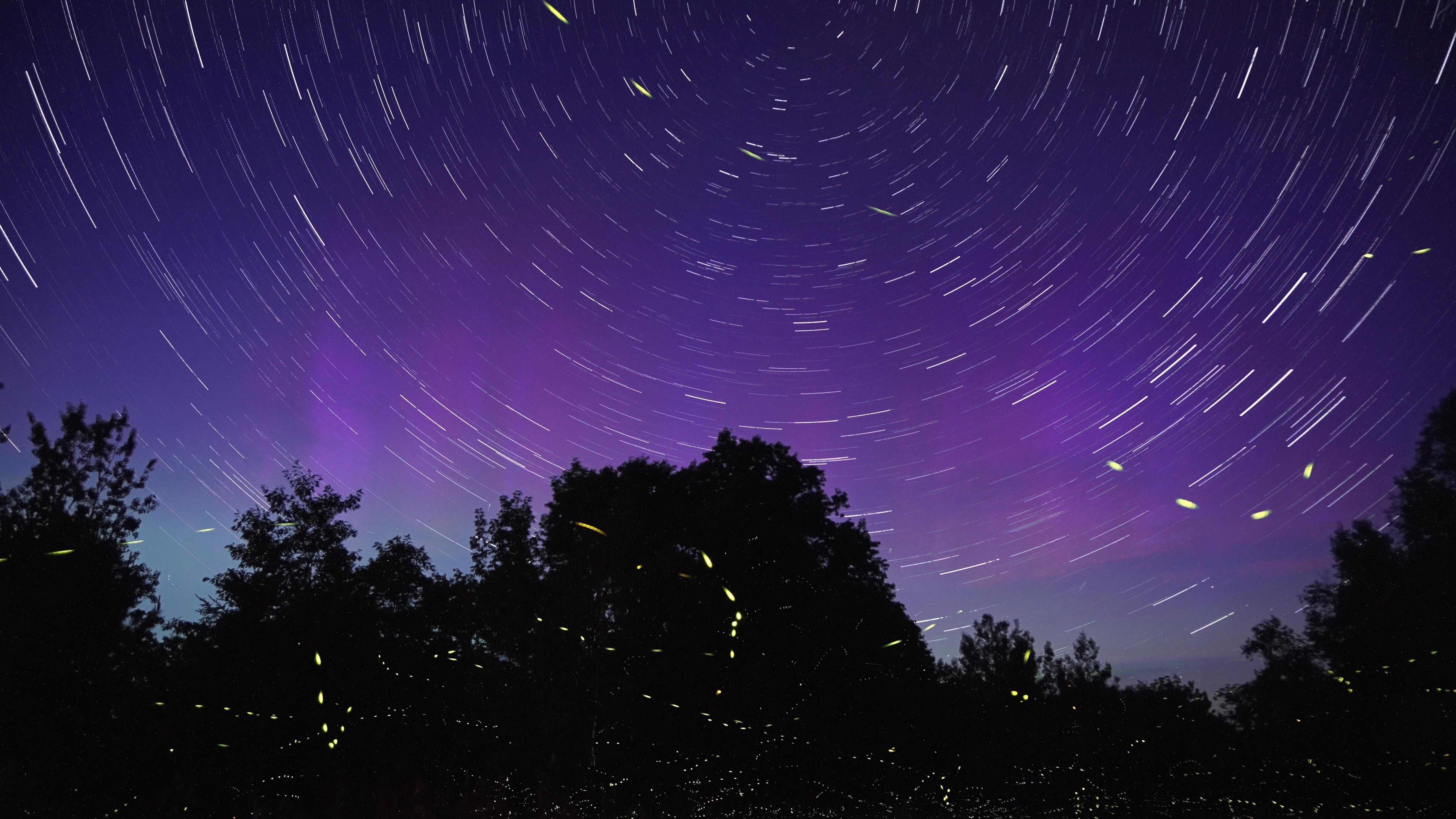 Фиолетовое небо звездный след обои скачать