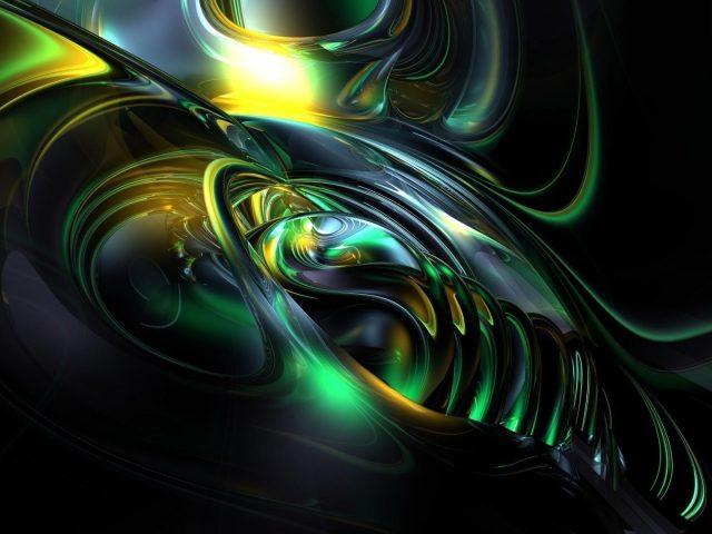 Желто-пепельно-зеленая фрактальная художественная абстракция абстракция