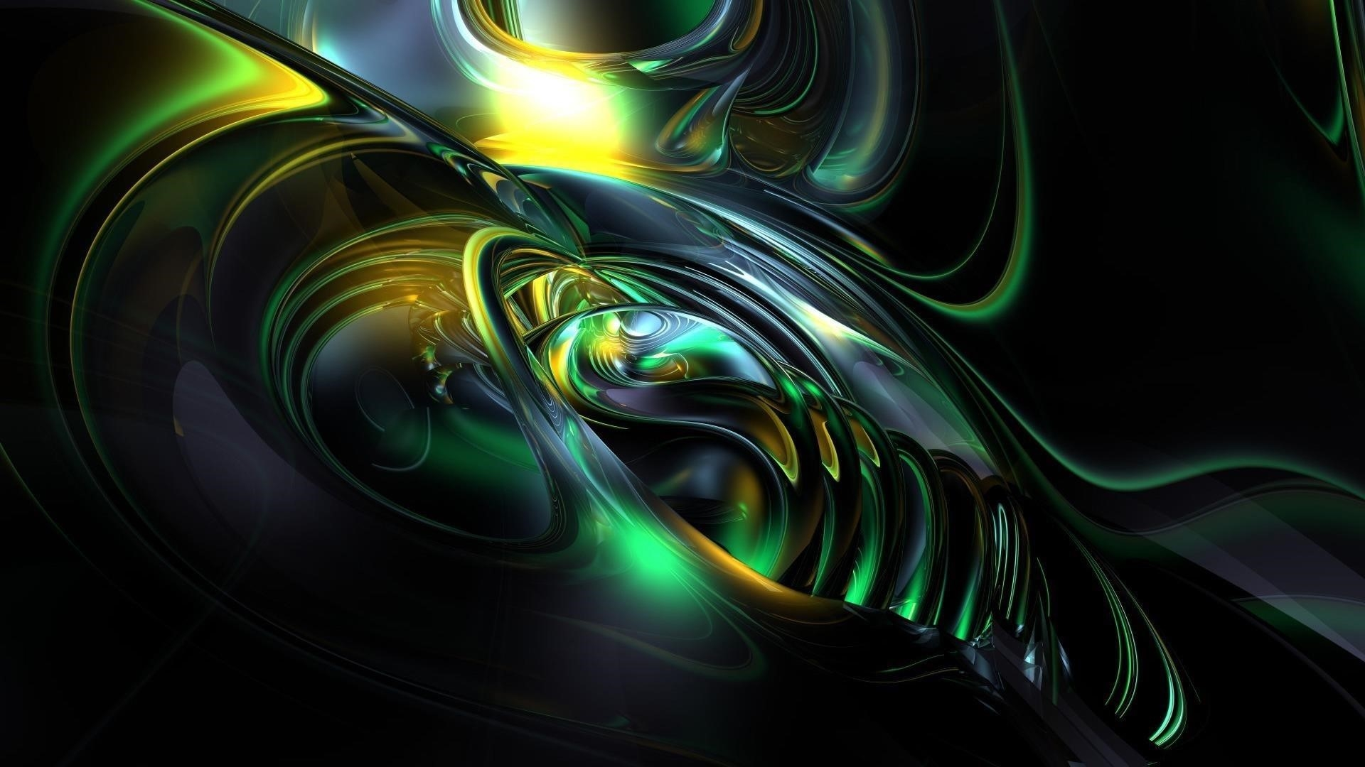 Желто-пепельно-зеленая фрактальная художественная абстракция абстракция обои скачать