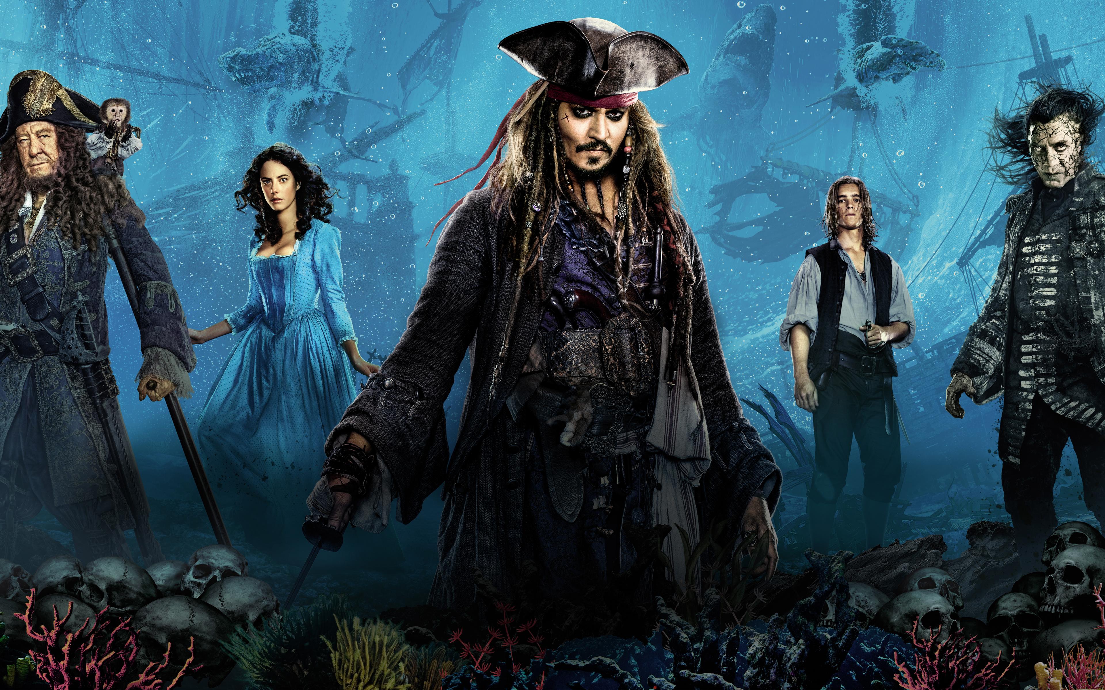 Пираты Карибского моря мертвецы не рассказывают сказки 8к. обои скачать