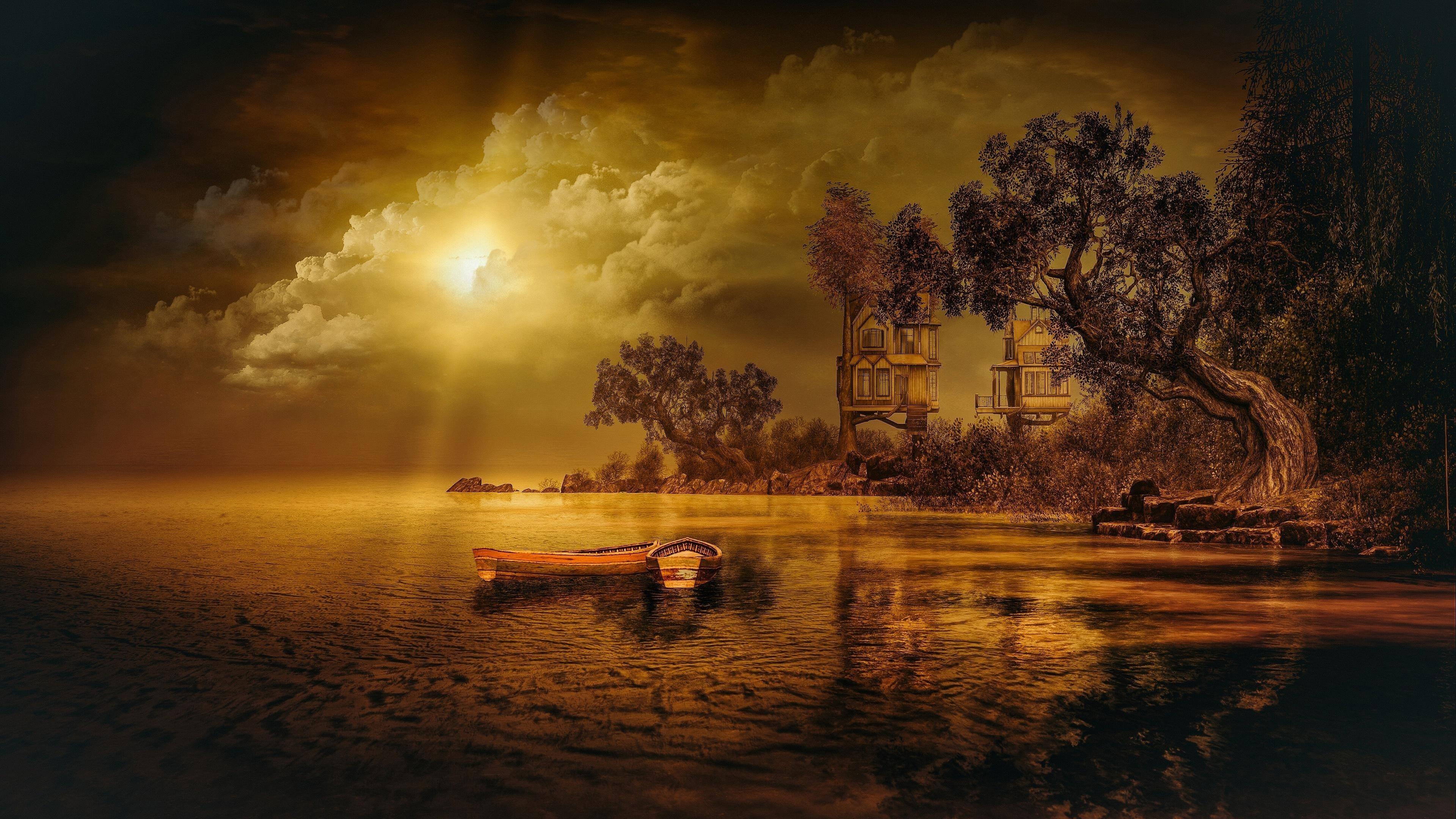 Художественная природа озера обои скачать
