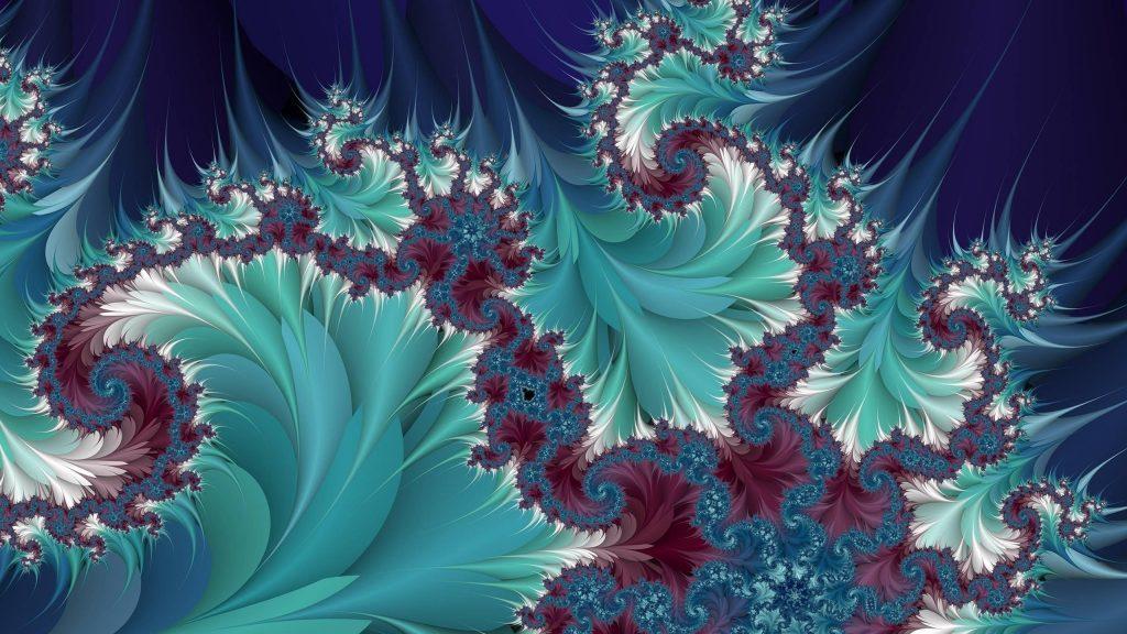 Синий фрактал листья искусство абстракция обои скачать
