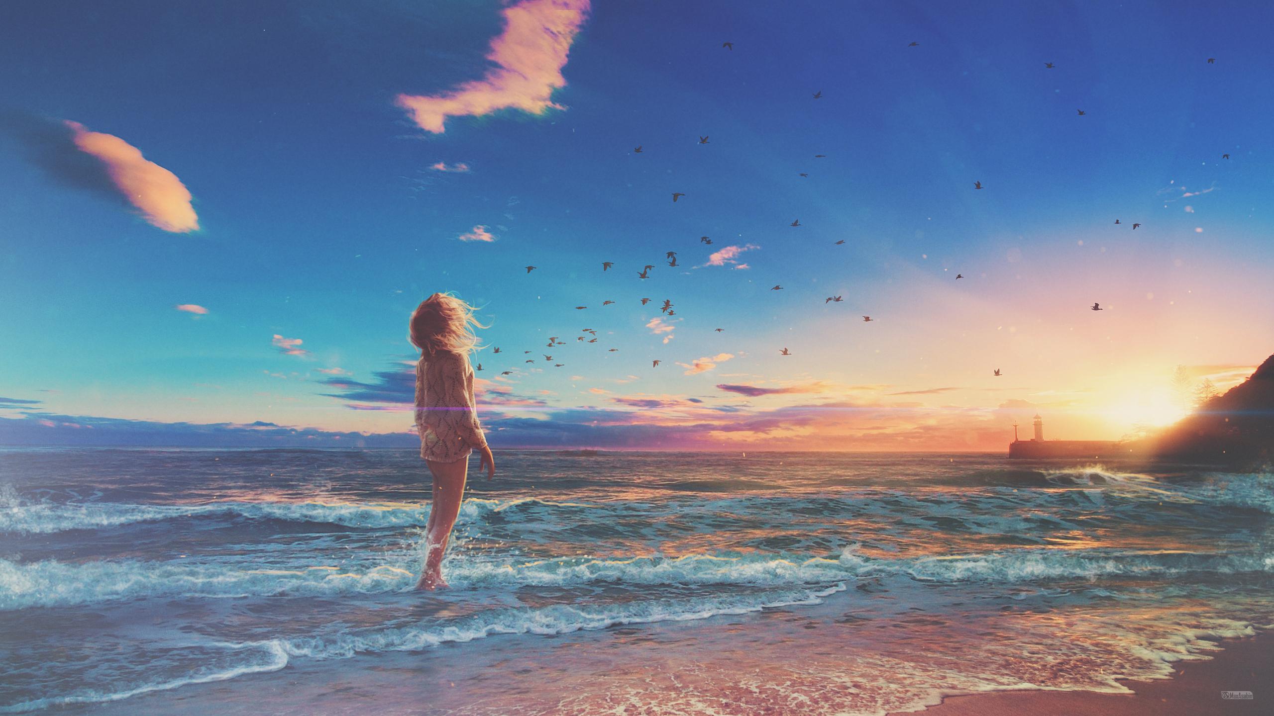Девушка на пляже обои скачать