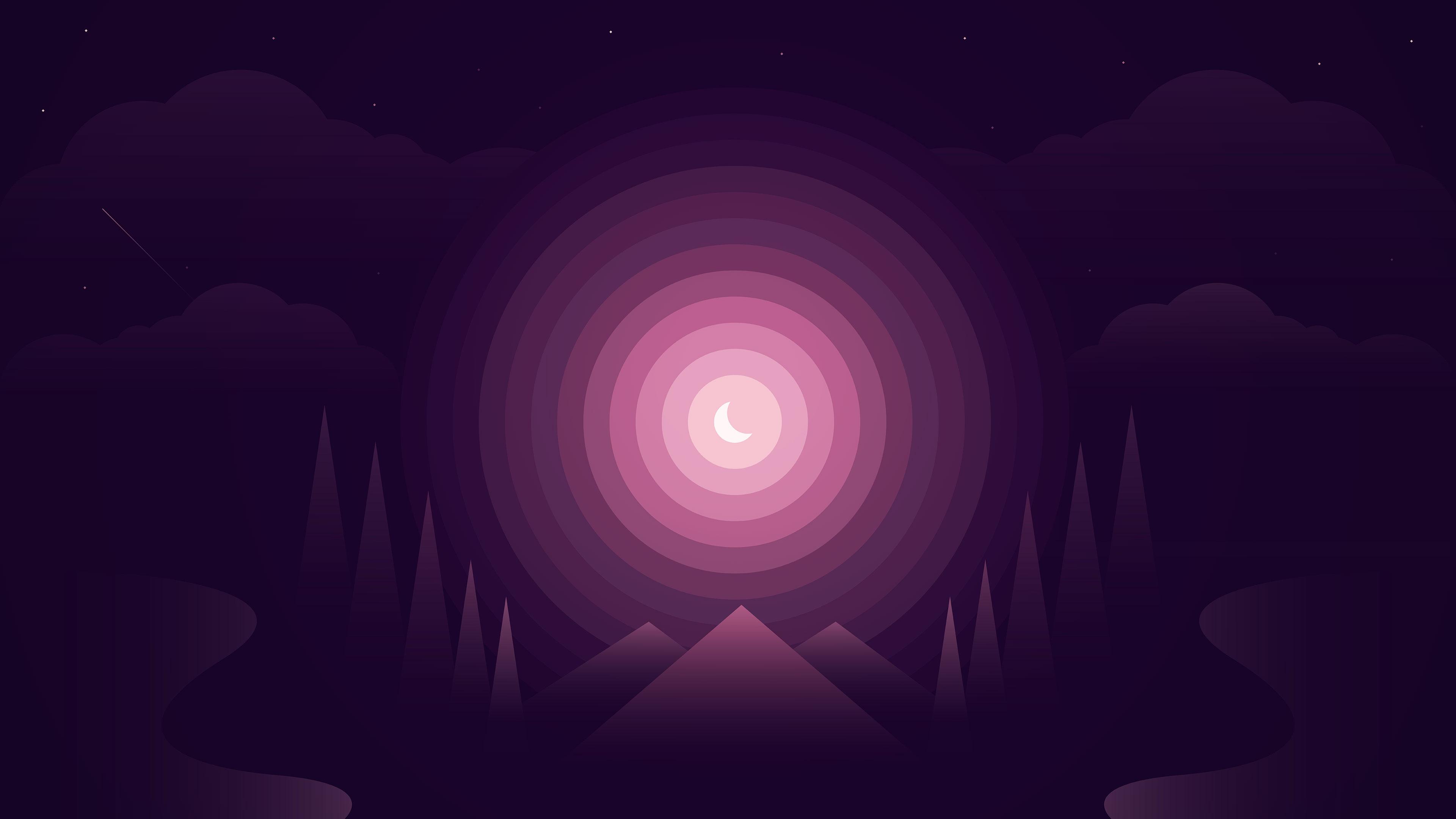 Лес фиолетовый градиент обои скачать