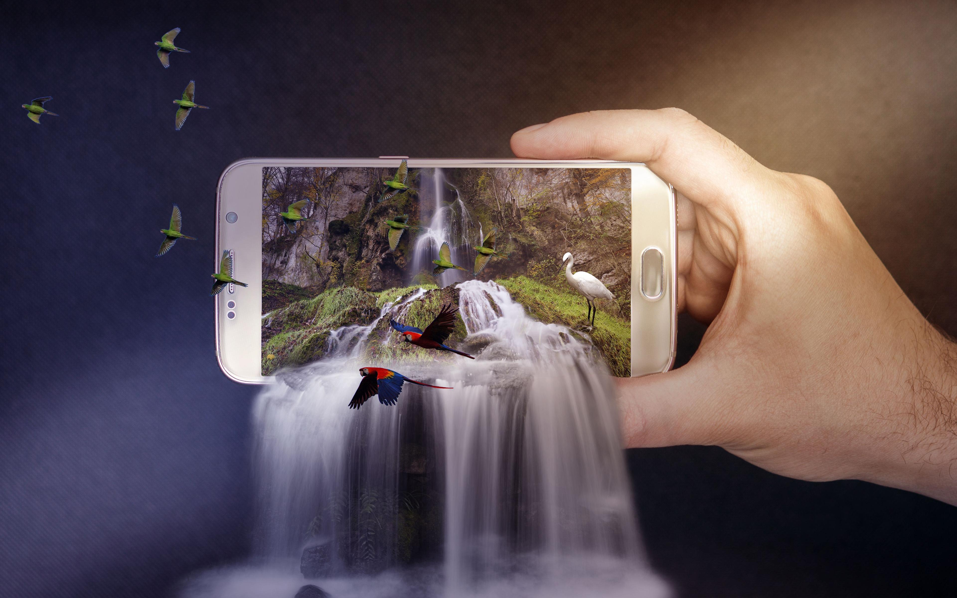 Смартфон водопад обои скачать