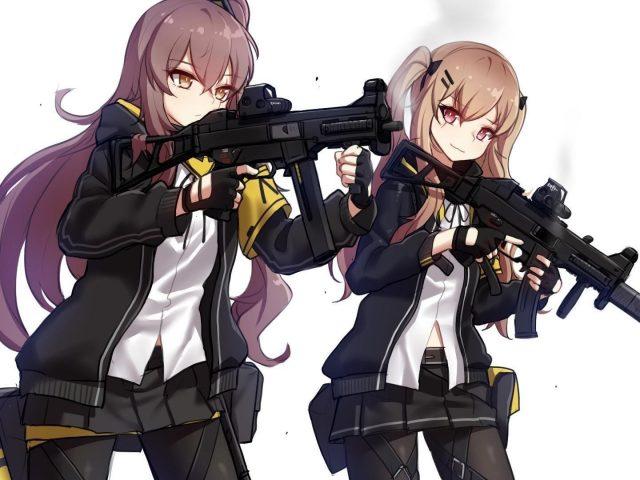 Девушки frontline две девушки с ump45 и ump9 с белым фоном игры