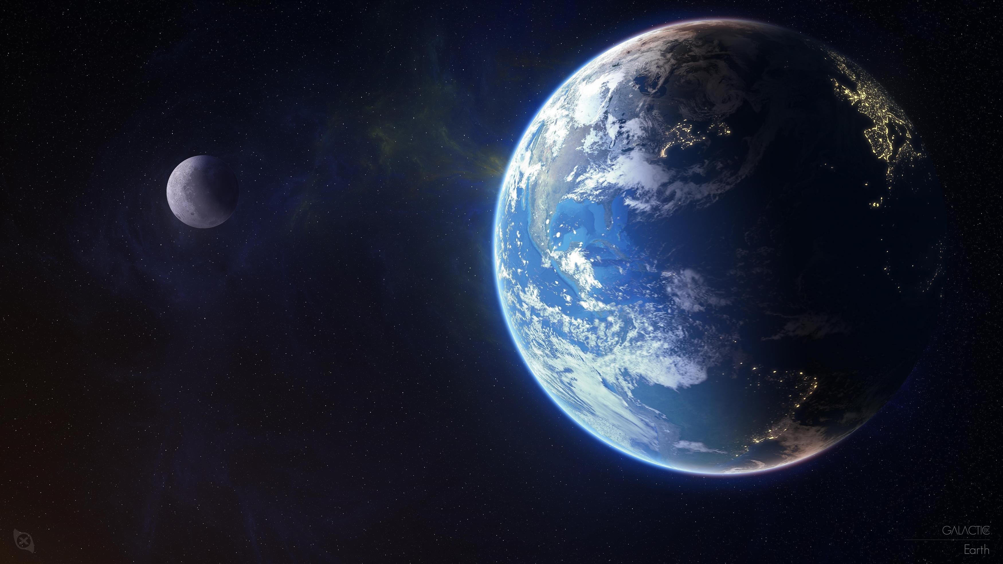 Планета Земля Луна обои скачать