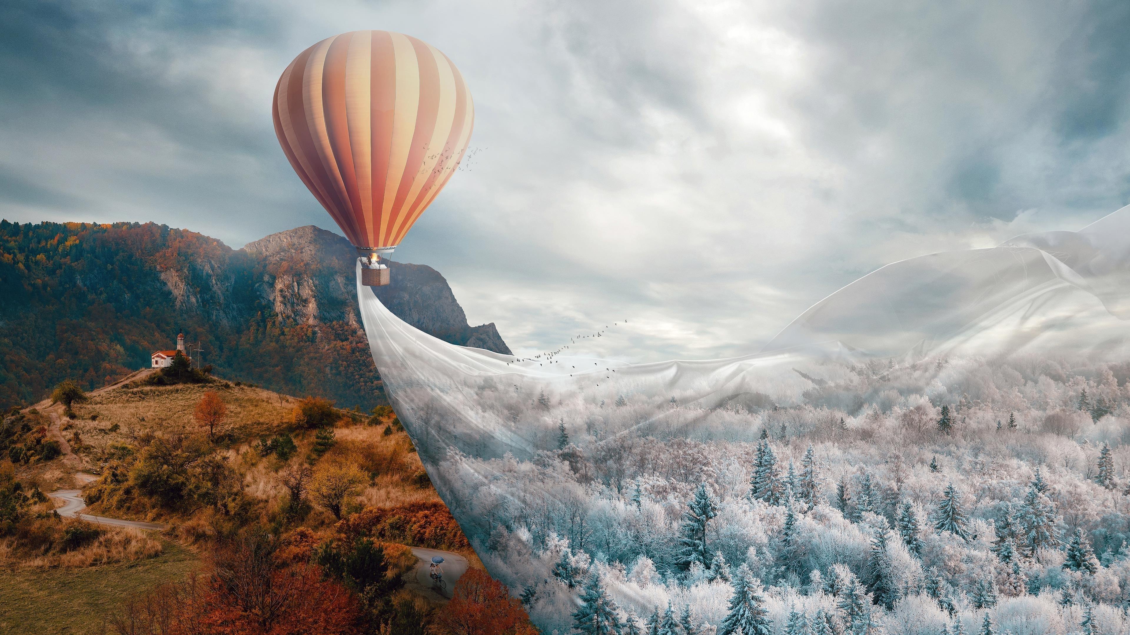 Горячий воздух воздушный шар фэнтези обои скачать