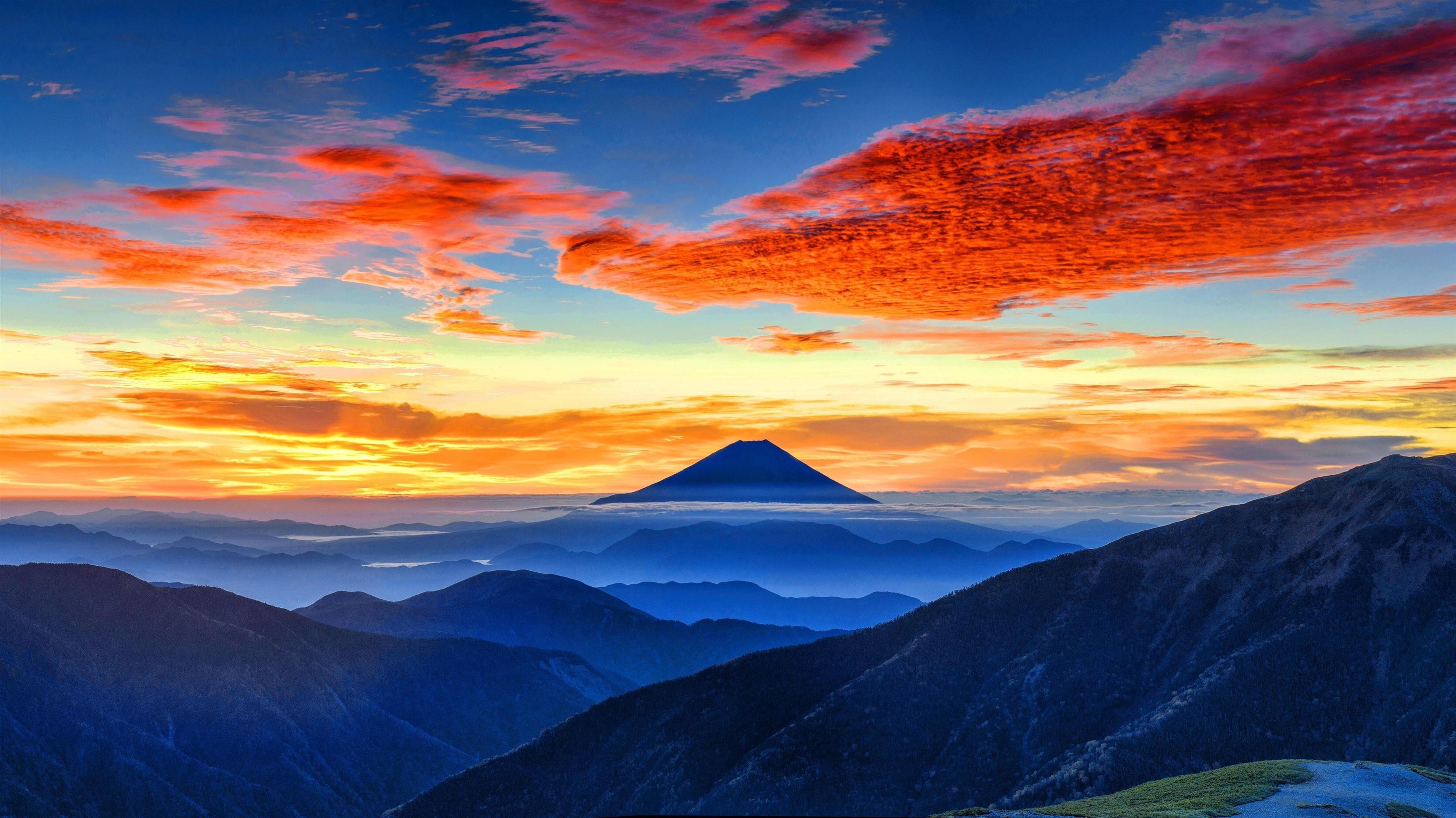Панорама горы Фудзи обои скачать