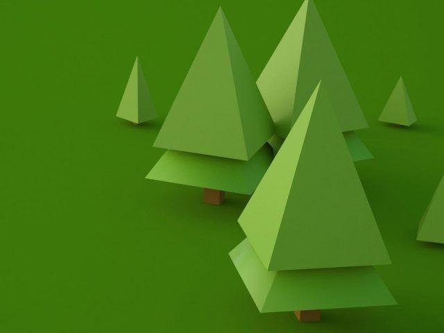 3d деревья цифровое искусство абстракция