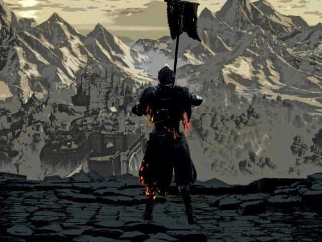 Dark souls warrior вид сзади с флагом видя заснеженные горные игры