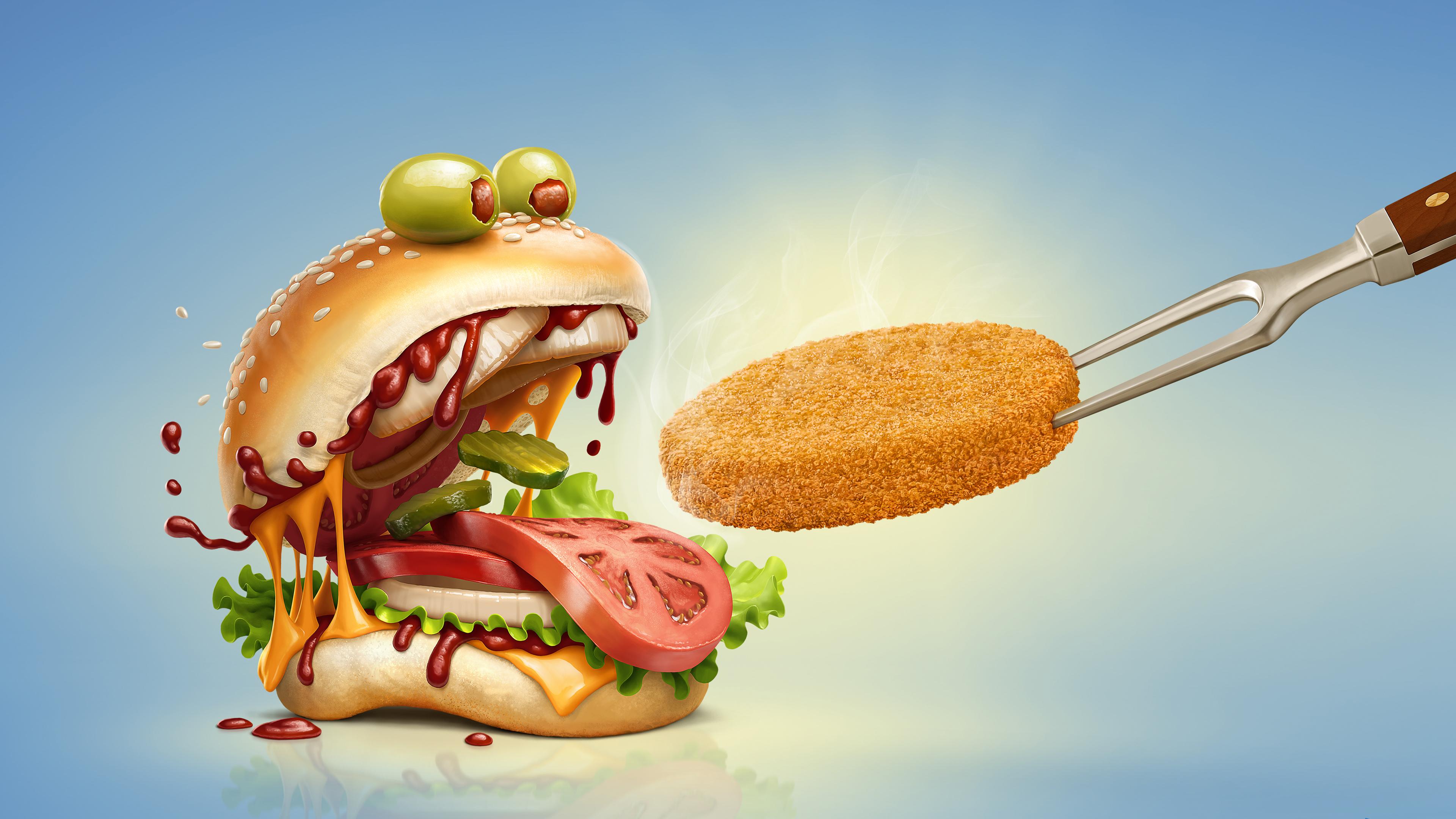 Бургер монстр обои скачать