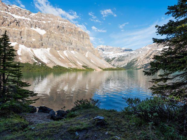 Заснеженная гора перед озером между зелеными пальмами в дневное время природа
