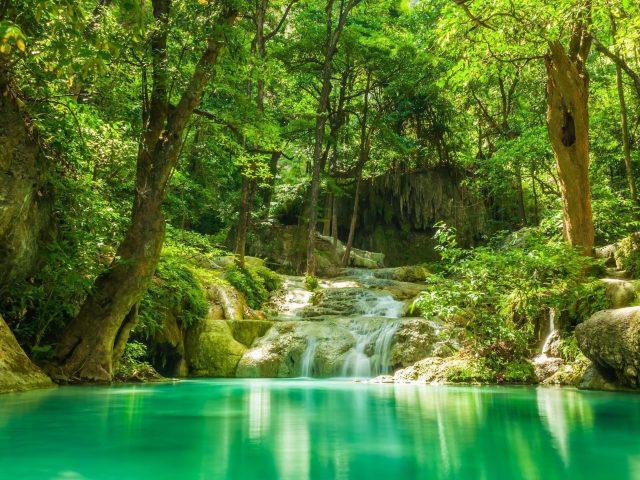Водопады между зелеными деревьями с отражением деревьев на спокойной Озерной природе