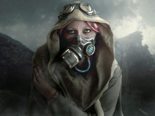 Холодный день женщина маска.