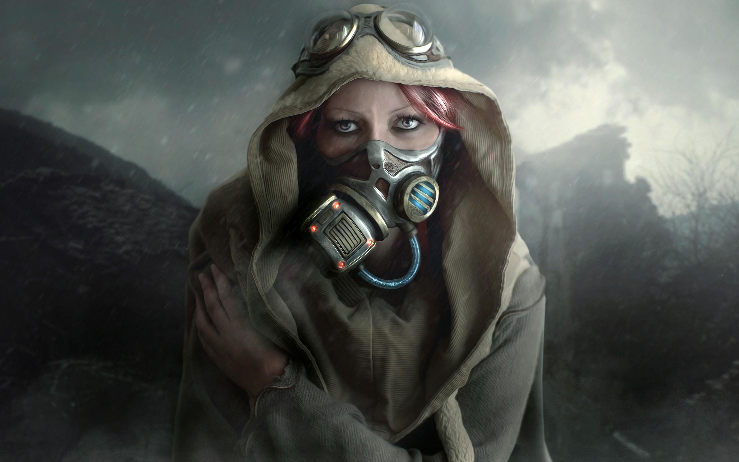 Холодный день женщина маска. обои скачать
