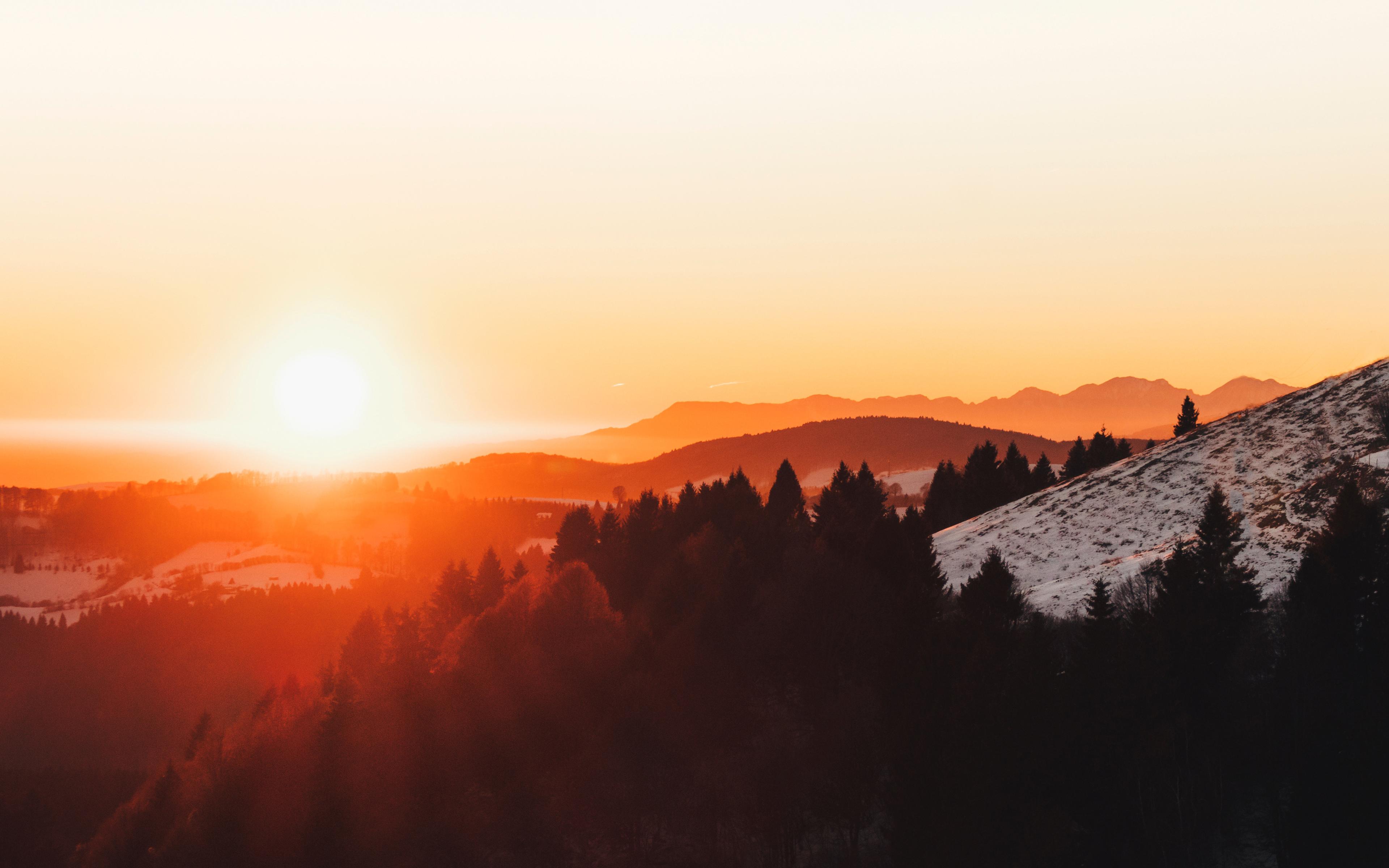 Горы Монте-граппа закат обои скачать