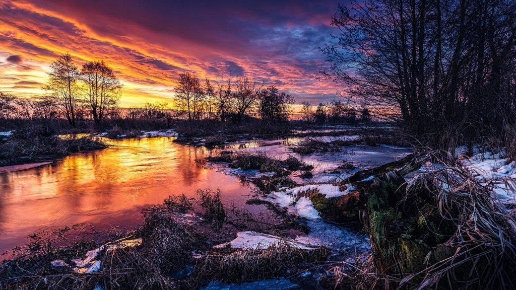 Заснеженные деревья с рекой под красочным облачным небом природа обои скачать