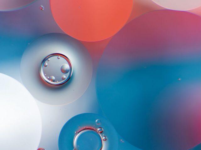 Синий белый оранжевый пузыри воды круглый абстрактный