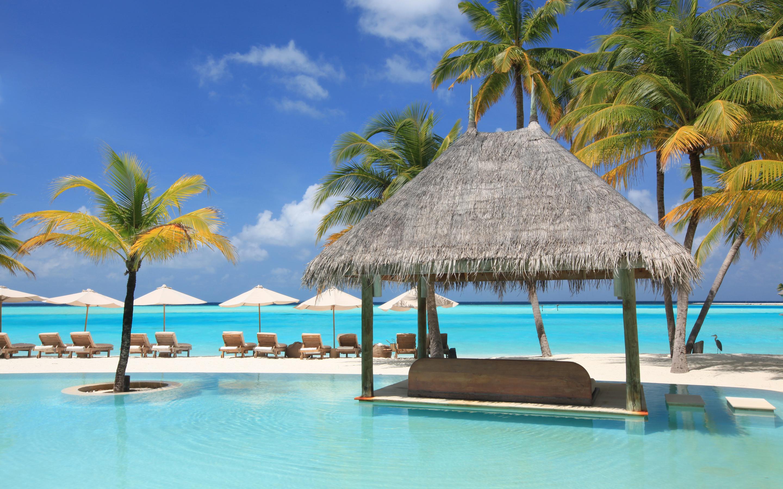 Океан, пальмы, отель, отдых обои скачать