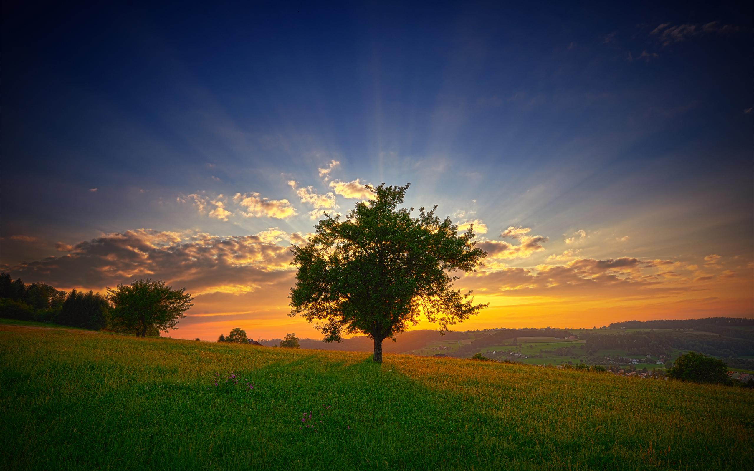 Исео пейзаж закат. обои скачать