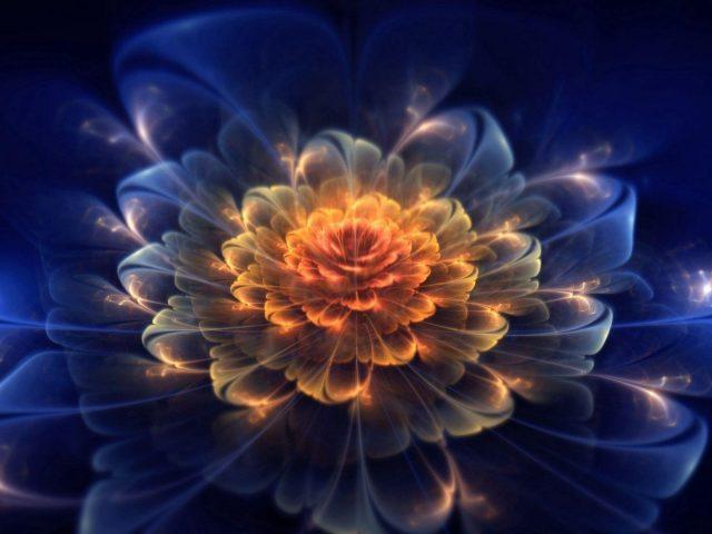 Синий темный фрактальный цветок свет абстрактный