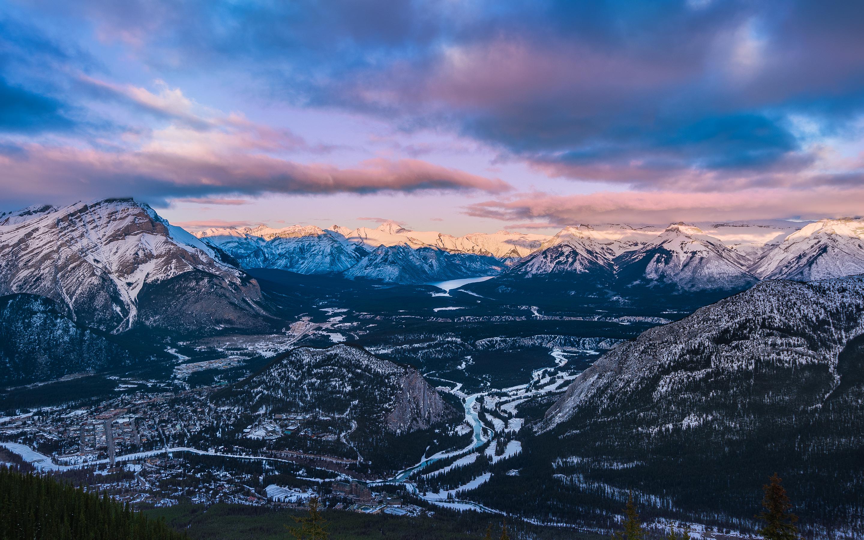 Закат горы национальный парк банф серы. обои скачать