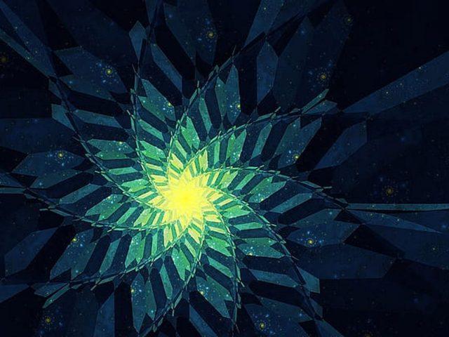 Желто-зеленый цветок фрактальный дизайн абстракция абстракция