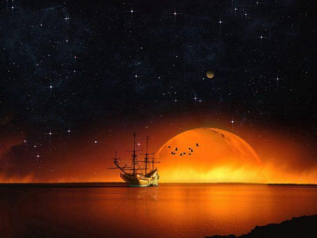 Корабль звездное небо ночное море