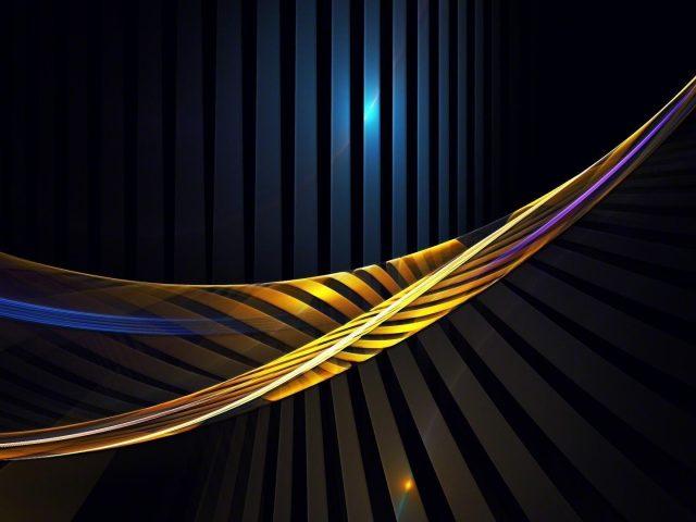 Желто-синие волнистые линии блики абстракция абстракция