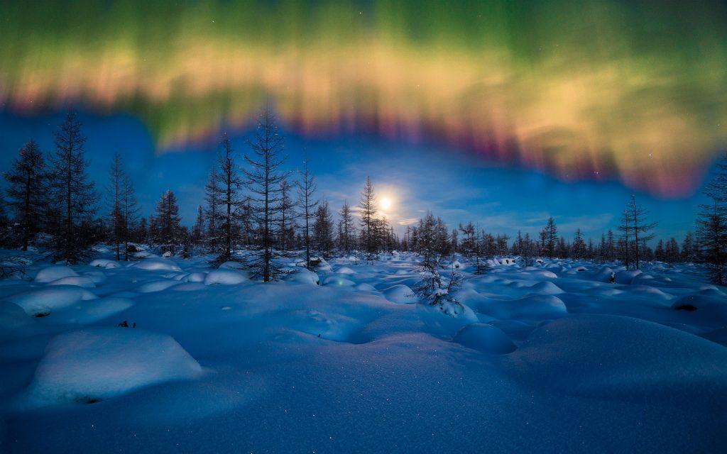 Зимой Северное Сияние. обои скачать