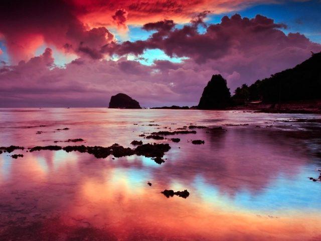Пляж небо облака скалы