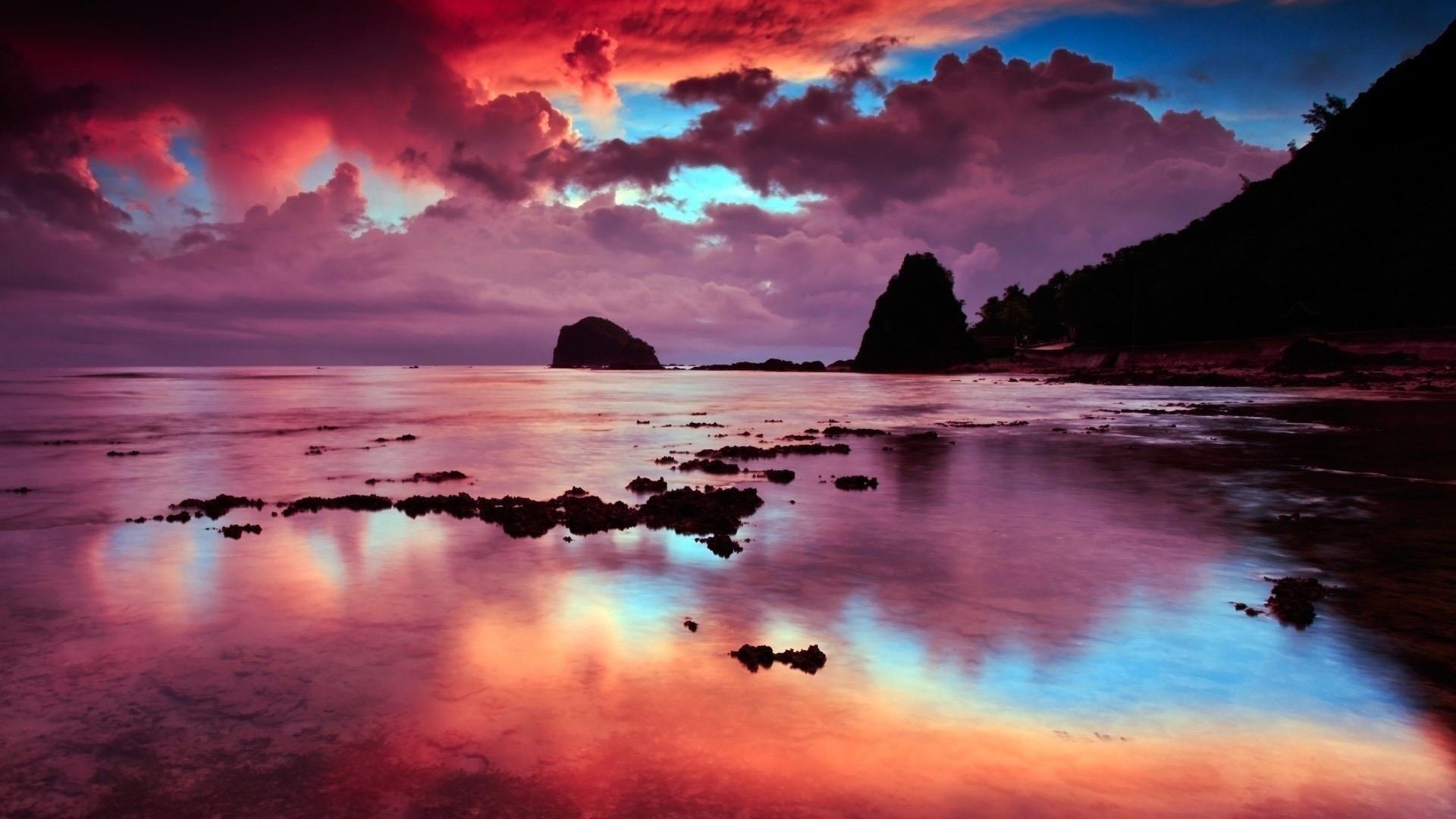 Пляж небо облака скалы обои скачать