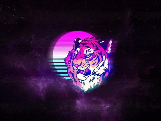 Тигр ретро неоновое искусство