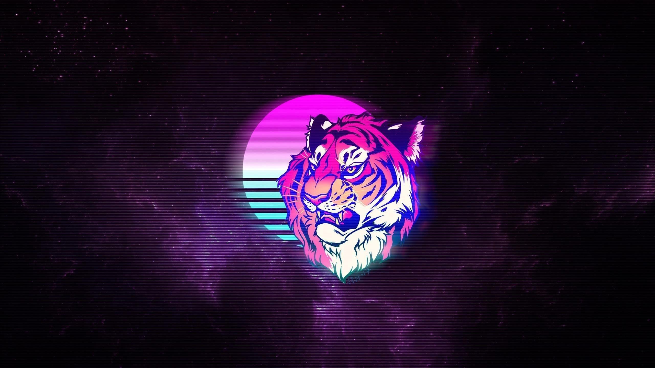 Тигр ретро неоновое искусство обои скачать