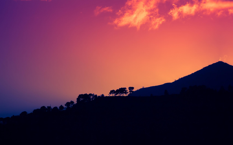 Закат темной горы Италия обои скачать