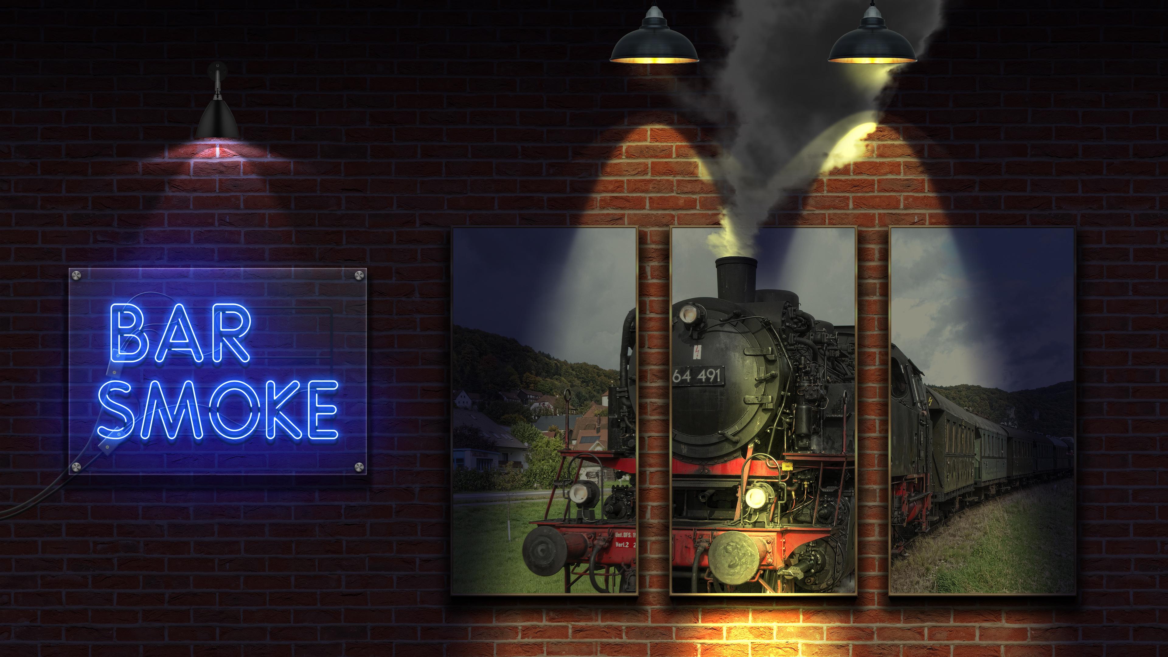 Неоновый бар дым обои скачать