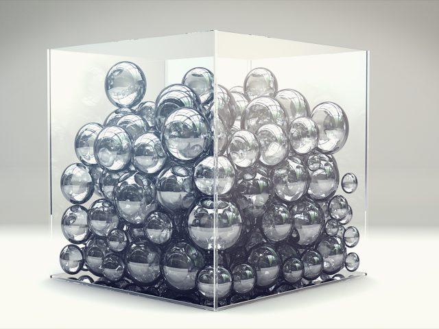 Шары,  рендер,  куб