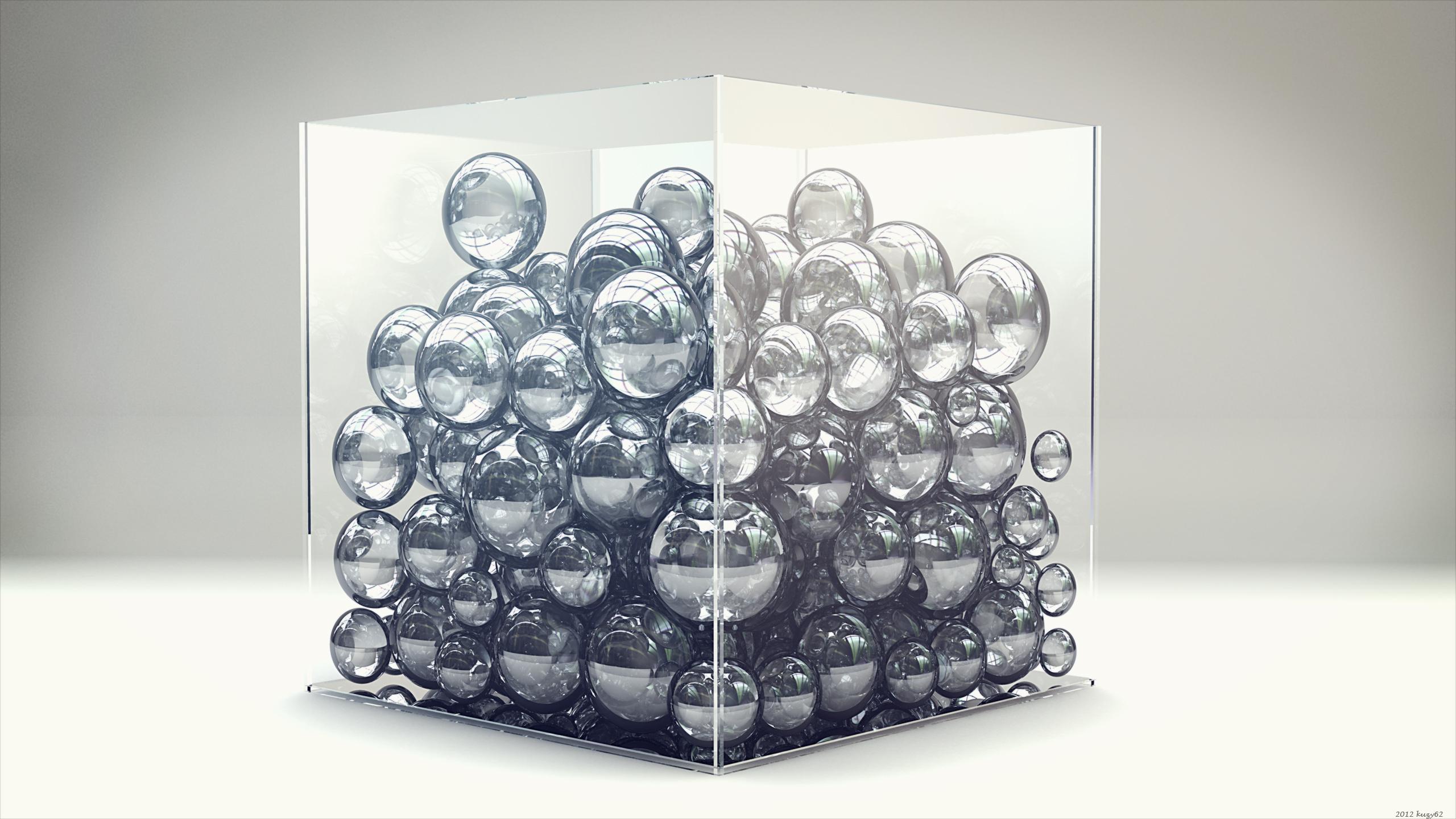 Шары, рендер, куб обои скачать