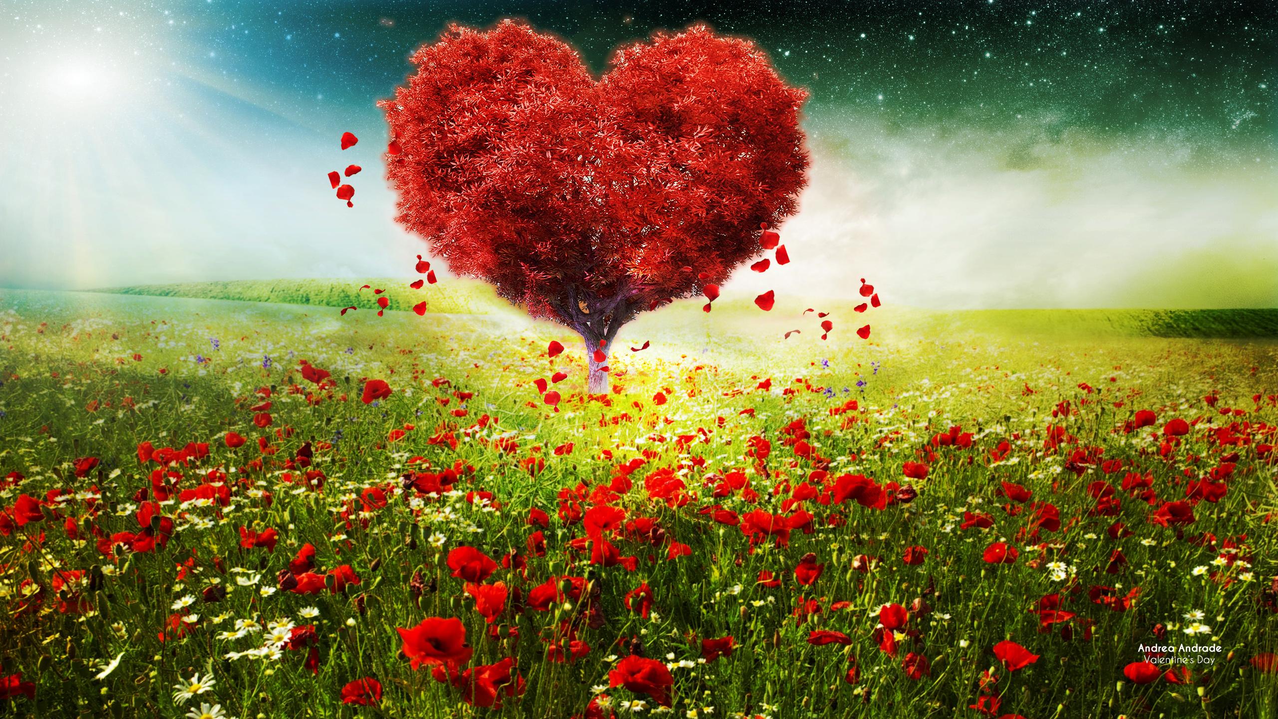 День Святого Валентина любовь сердца дерево пейзаж обои скачать