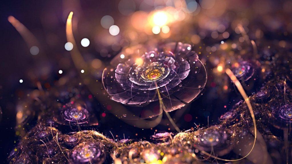 Сверкающие цветы искусство абстракция обои скачать
