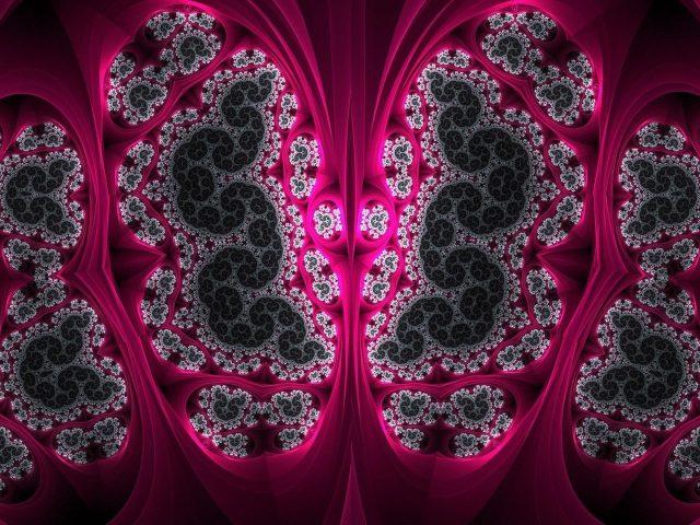 Темно-розовый зеленый фрактальный блик художественный узор абстракция абстракция