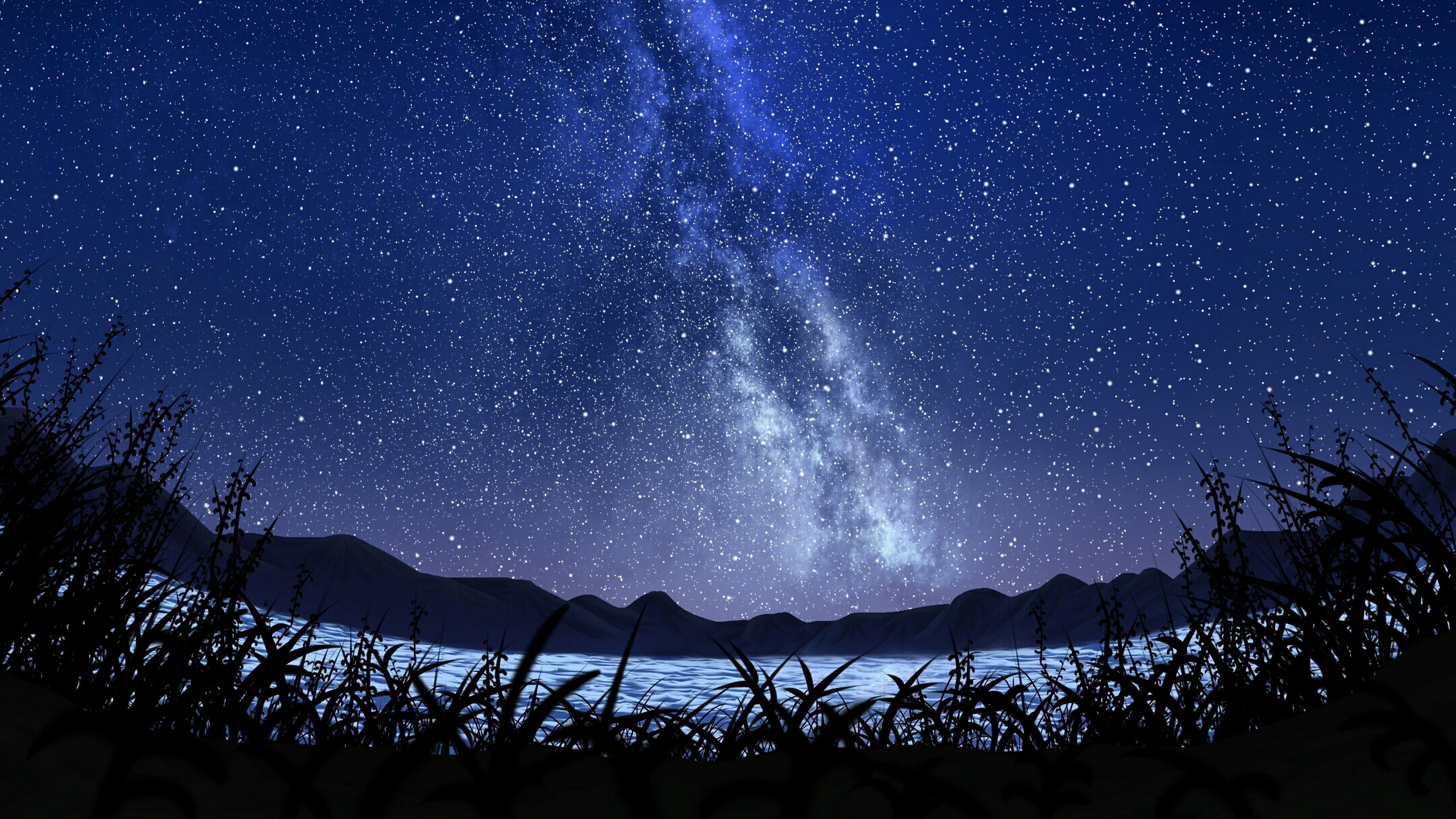Млечный Путь звездное небо пейзаж обои скачать